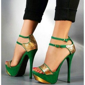 Green and Gold Glitter Ankle Strap Platform Sandals High Heel Shoes