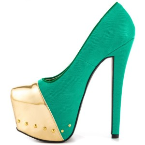 Fashion Green And Gold Dress Shoes High Heel Platform Pumps FSJ Shoes