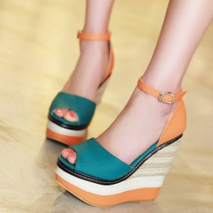 Teal and Orange Ankle Strap Peep Toe Wedge Sandals