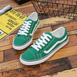 Green and White Lace up Hui Li Sneakers