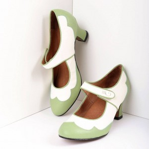 Green and White Mary Jane Heels Vintage Style Chunky Heel Pumps