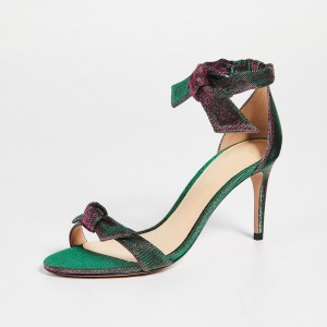 Green Bows Open Toe Ankle Strap Heels Sandals