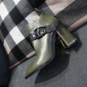Green Buckle Pointy Toe Block Heels Ankle boots