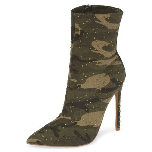 Green Camouflage Fashion Boots Rhinestone Stiletto Heel Ankle Boots