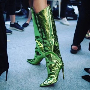 Green Fashion Boots Pointy Toe Stiletto Heel Knee High Boots