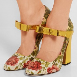 Green Floral Block Heel Bow Mary Jane Pumps
