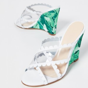 Green Floral Clear PVC Cross Over Wedge Heels Mule Sandals