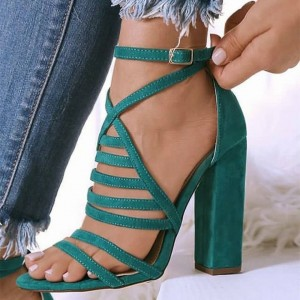 Green Open Toe Chunky Heel Sandals Hollow out Ankle Strap Sandals