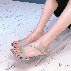 Green Open Toe Stiletto Heels Ankle Strap Sandals for Women