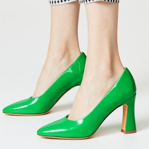Green Patent Leather Chunky Heels Pumps for Women