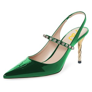 Green Patent Leather Pointy Toe Dressy Slingback Pumps