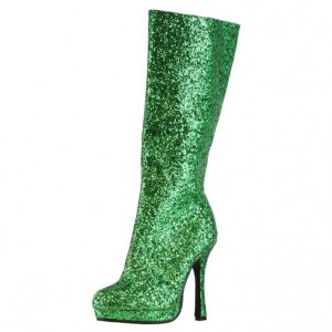 Green Platform Boots Fashion Glitter Mid-calf Boots for Women