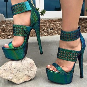 Women's Green Platform Sandals Hollow out Open Toe High Heel Shoes