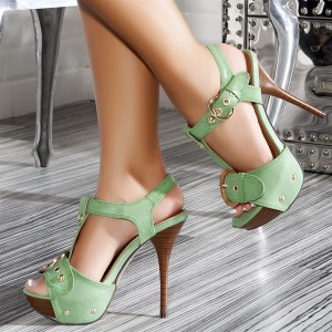 Green T Strap Heels Buckles High Heel Platform Sandals