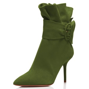 Green Pointy Toe Ruffle Buckle Stiletto Heels Ankle Booties
