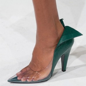 Green Python Clear Heels Chunky Heel Pumps