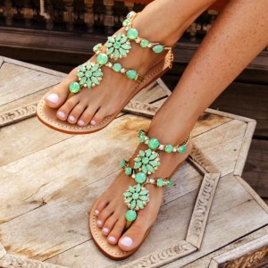 Green Rhinestone  Beach Sandals Comfortable Flat Gladiator Sandals
