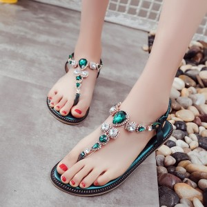 Green Rhinestone T Strap Wedding Sandals