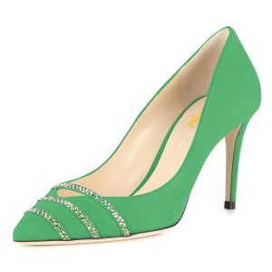 Green Rhinestones Stiletto Heels Pumps for Office Lady