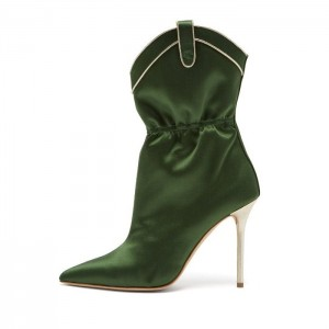 Green Satin Ankle Booties Pointy Toe Stiletto Heel Boots