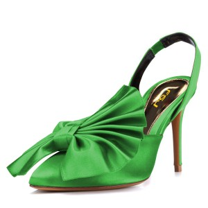 Green Satin Bow Heels Almond Toe Stiletto Heel Slingback Pumps
