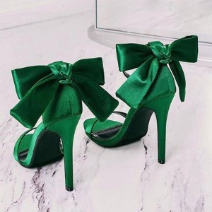 Green Satin Bow Stiletto Heel Ankle Strap Sandals