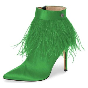 Green Satin Feather Stiletto Heel Ankle Booties