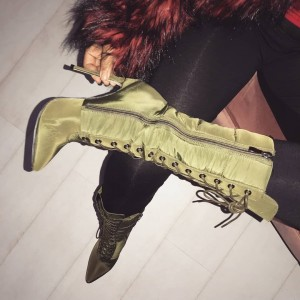 Green Satin Lace up Boots Stiletto Heels Mid Calf Boots for Women