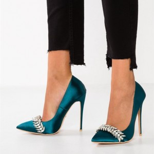 Green Satin Rhinestones Pron Shoes Stiletto Heel Pumps