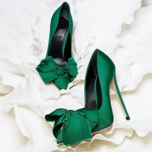 Green Satin Stiletto Heels Bow Pointed Toe Pumps