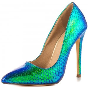 Ariel Green Gradient Color Stiletto Heels Pointy Toe Python Pumps