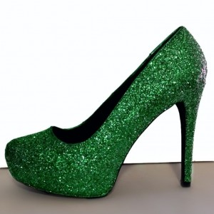 Green Sparkly Heels Ankle Strap Glitter Shoes Platform Pumps