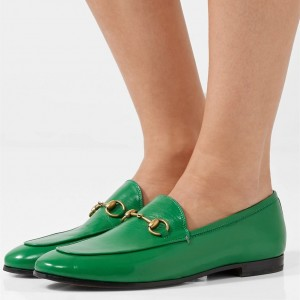 Green Square Toe Loafers for Women Comfortable Flats