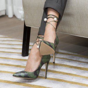 Green Strappy Heels Pearl Stiletto Heel Pointed Toe Pumps