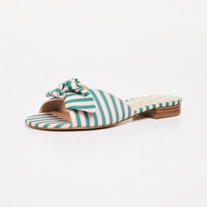 Green Stripe Bow Women's Slide Sandals