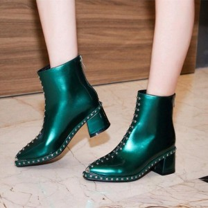 Green Studs Pointy Toe Chunky Heels Ankle Booties with Zip