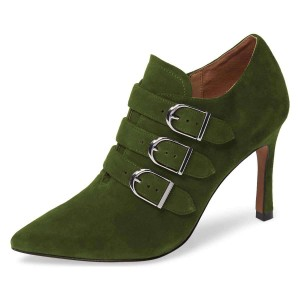 Green Buckle Boots Pointy Toe Spool Heel Suede Ankle Booties