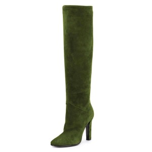 Green Suede Chunky Heel Boots Knee-high Boots