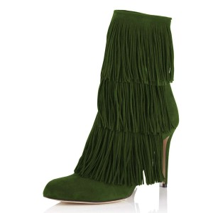 Green Suede Fringe Boots Stiletto Heel Ankle Boots