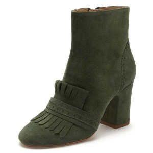 Green Suede Fringe Chunky Heel Boots
