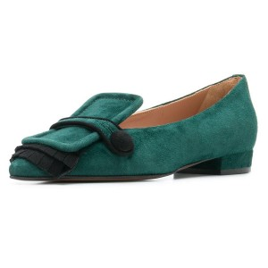 Green Suede Fringe Loafers for women