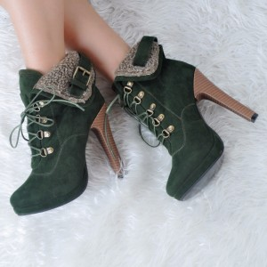 Green Suede Lace Up Boots Platform Chunky Heel Ankle Boots