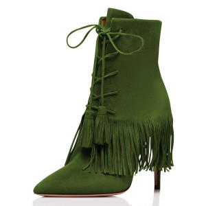 Green Suede Lace Up Fringe Boots Stiletto Heel Ankle Boots