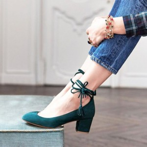 Teal Suede Lace Up Round Toe Chunky Heels Pumps for Office Ladies