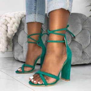 Green Suede Open Toe Chunky Heels Strappy Sandals