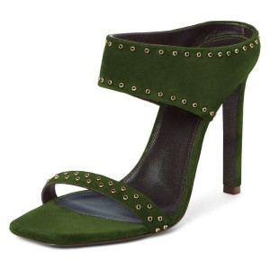 Green Suede Open Toe Cut Out Mule Heels
