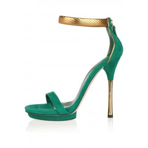 Green Suede Platform Stiletto Heel Python Ankle Strap Sandals