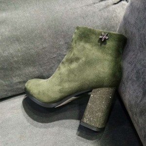 Green Suede Rhinestone Block Heel Ankle Booties