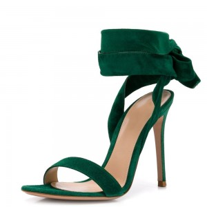 Green Suede Shoes Ankle Tie Stiletto Heel Sandals