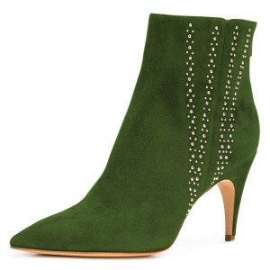 Green Suede Stud Pointy Toe Stiletto Heel Ankle Booties
